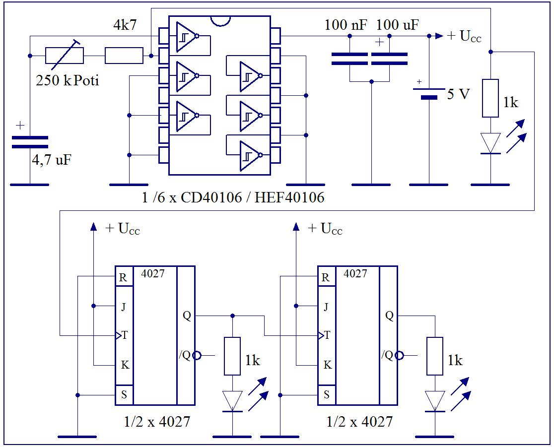 Elektronik Projekte Frequenzteiler J K Flip Flop Circuit Diagram Jk Flipflop