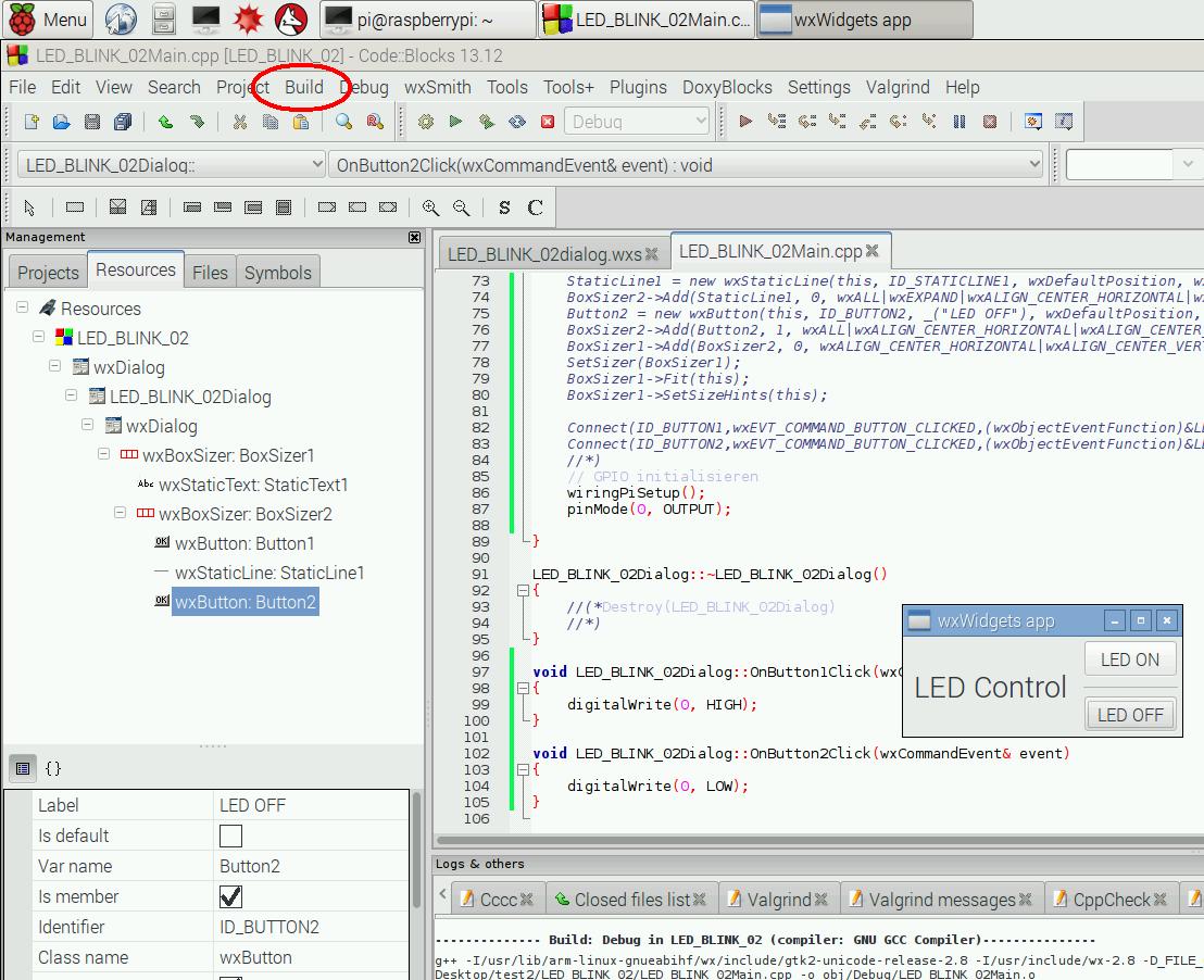 Elektronik Projekte Gpio Mit C Und Wxwidgets Steuern Odroid C1 Wiringpi Screenshot